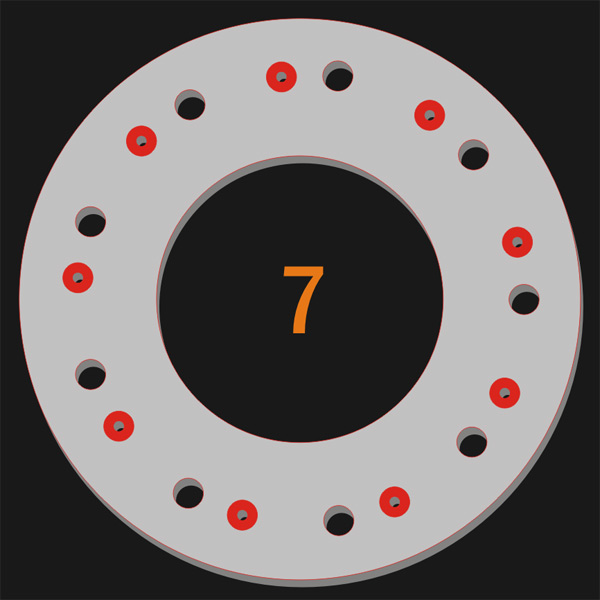 9 Pilot Hole x 9 Trough Hole