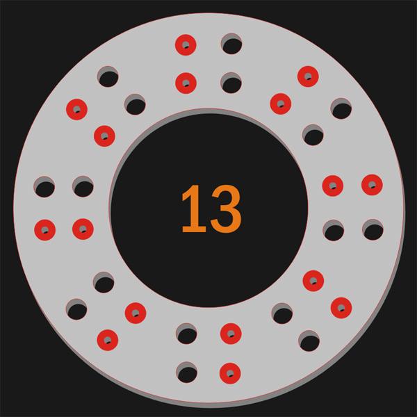 16 Pilot Hole 16 Trough Hole